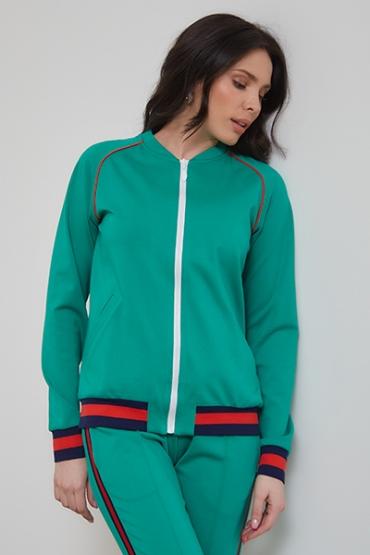 Костюм URA зеленый c узкими брюками
