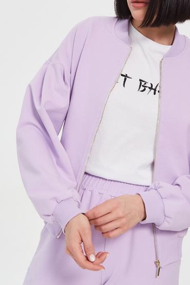 Костюм лиловый с рукавами -буфами